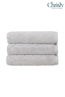 Set of 2 Christy Silver Honeycomb Geometric Towels