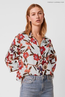 French Connection Cream Eloise Crinkle Printed Top