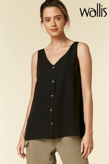 Wallis Petite Black Button Through Cami
