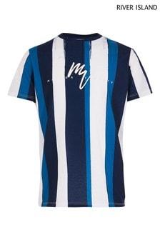 River Island Navy Painted Stripe T-Shirt