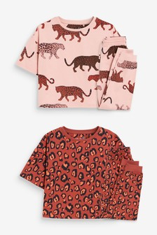 2 Pack Leopard Character Jogger Cotton Pyjamas With Cropped Boxy T-Shirt (3-16yrs)