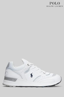 Polo Ralph Lauren White Trackster 200 Mesh Leather Trainers