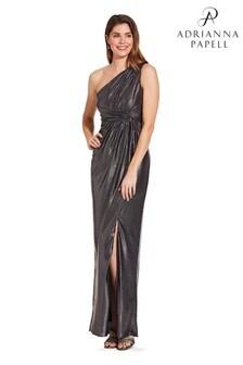 Czarno-metaliczna sukienka dżersejowa Adrianna Papell