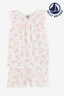 Pijamas en rosa con estampado de sirenas de Petit Bateau
