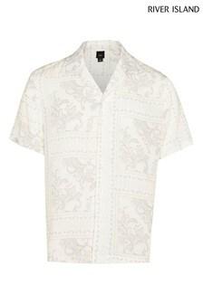 River Island White Washed Paisley Print Revere Shirt