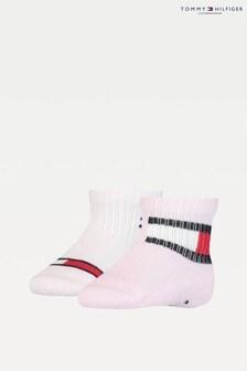 Tommy Hilfiger Pink 2 Pack Flag Baby Socks