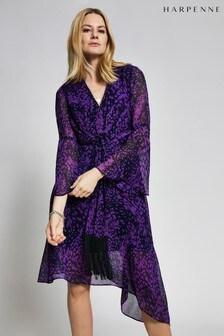Harpenne Purple Animal Print Tie Front Midi Dress