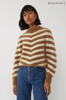 Warehouse Natural Chevron Soft Stripe Jumper