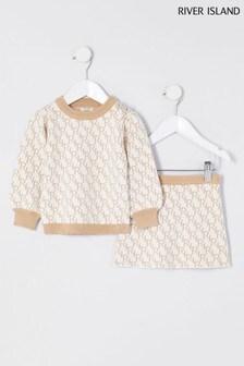 River Island Cream Monogram Skirt Set