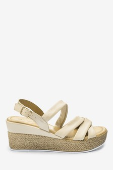 Leather Soft Knot Wedge Sandals