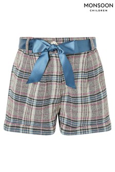 Monsoon Blue Teal Check Shorts