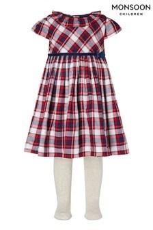 שמלה וגרביונים של Monsoon לתינוקות עם משבצות סקוטיות באדום