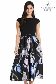 Adrianna Papell Black Printed Mikado Fit And Flare Dress