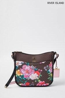 River Island Brown Floral Monogram Structured Manager Bag
