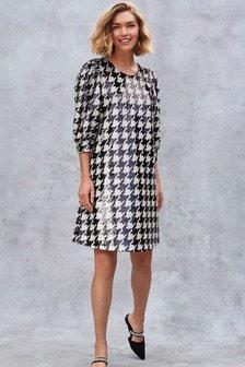 Платье мини с узором «гусиная лапка» и пайетками