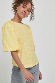 Блузка с короткими рукавами-буфами