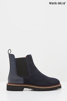 White Stuff Navy Alpine Ankle Boots