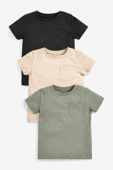 מארז3 חולצות טי חלקות מכותנה אורגנית (3 חודשים עד גיל 7)