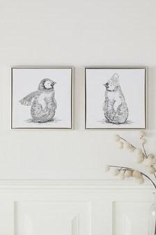 Set of 2 Embellished Penguin Canvases