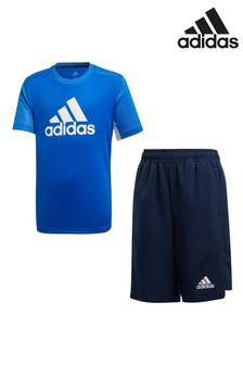 adidas Performance Blue/Black T-Shirt And Shorts Set