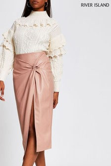 River Island Pink Medium Twist Front Wrap Skirt