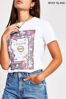 חולצת טי של River Island דגם Floral Atelier בצבע לבן