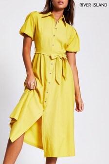 River Island Yellow Puff Sleeve Shirt Midi Dress