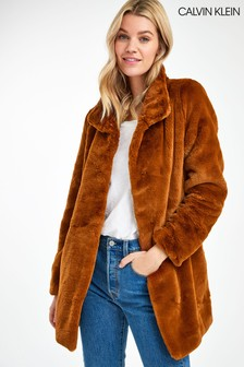 Calvin Klein Brown Faux Fur Coat