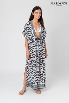 Pia Rossini Animal Print Maxi Dress With Embellished Neckline