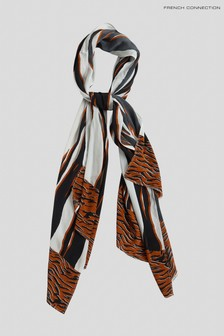 French Connection Black Amur Tiger Scarf