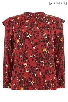 Warehouse Rüschenoberteil mit Blumen- und Leopardenmuster, Violett
