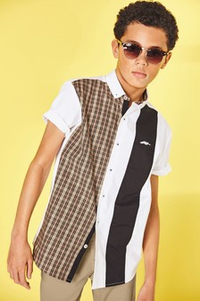Short Sleeve Spliced Check Shirt (3-16yrs)