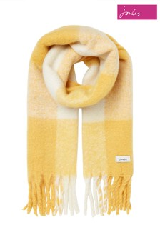 Joules Yellow Lin Checked Warm Brushed Scarf