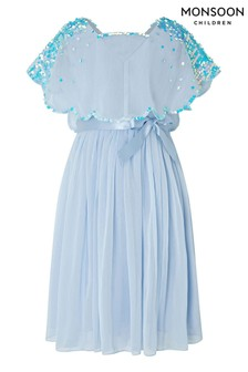 Monsoon Children Blue Eliza Sequin Cape Dress