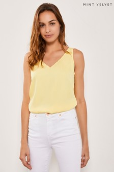 Mint Velvet Yellow Beaded Trim Cami