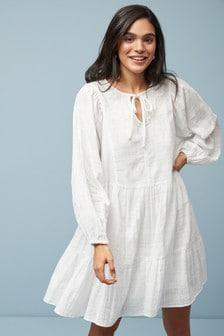 Ярусное платье-туника с вышивкой