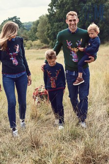 Matching Family Mens Christmas Flippy Sequin Stag Jumper