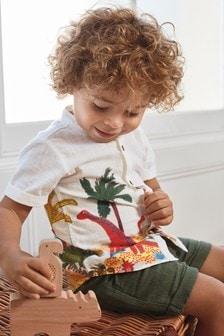 Short Sleeve Grandad Collar Dino Print Shirt (3mths-7yrs)