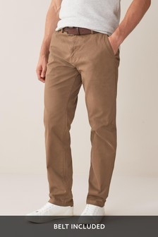 Belted Soft Touch Chino Trousers