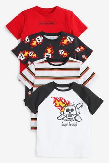 4 Pack Skull Graphic T-Shirts (3-16yrs)