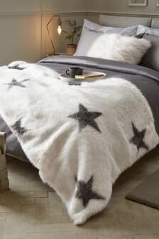 Ecru And Grey Faux Fur Star Throw