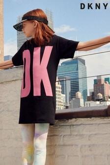 DKNY T-Shirt-Kleid mit Logo, Schwarz/Pink