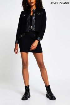 River Island Black Boucle Mix Mini Skirt