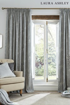 Laura Ashley Steel Pussy Willow Pencil Pleat Curtains