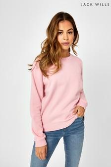 Jack Wills Pink Astbury Raglan Crew Sweater