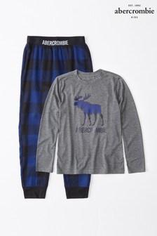 Set de pijama cu logo Abercrombie & Fitch gri