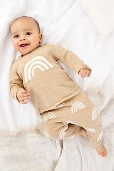 סט סוודר סרוג עם קשת בענן וטייץ (0 חודשים עד גיל 2)