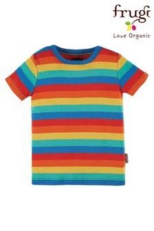 Koszulka z organicznej bawełny Frugi w tęczowe paski
