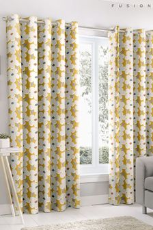 Fusion Aura Retro Floral Lined Eyelet Curtains
