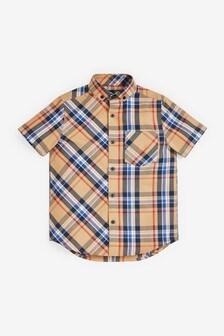 Рубашка в клетку с короткими рукавами  (3-16 лет)